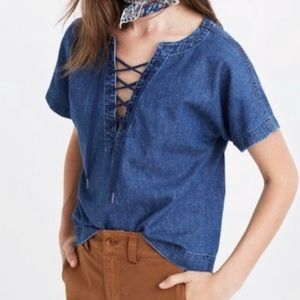NWT ✨ Madewell Lace Up Denim Top